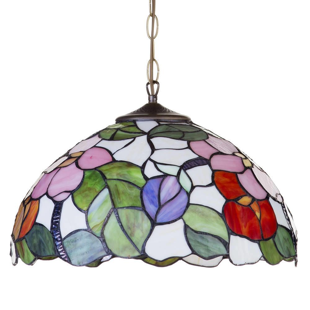 Tiffany pendant ceiling light with shade floral 16 inch multi fastfree delivery aloadofball Image collections