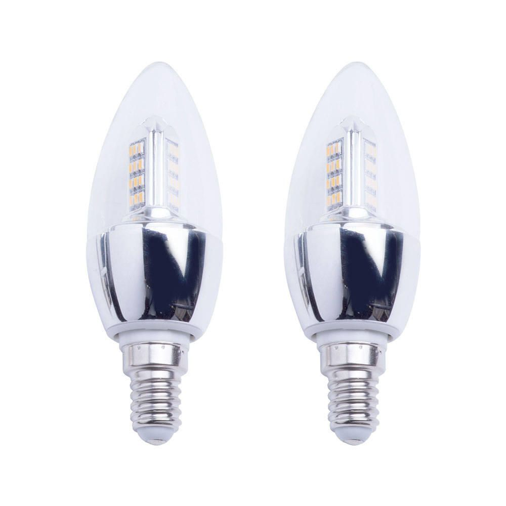 4 Watt E14 Small Edison Screw LED Candle Light Bulb  Warm White Clear  2 Pack