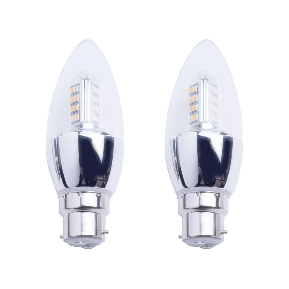 4 Watt B22 Bayonet Cap LED Candle Light Bulb  2 Pack