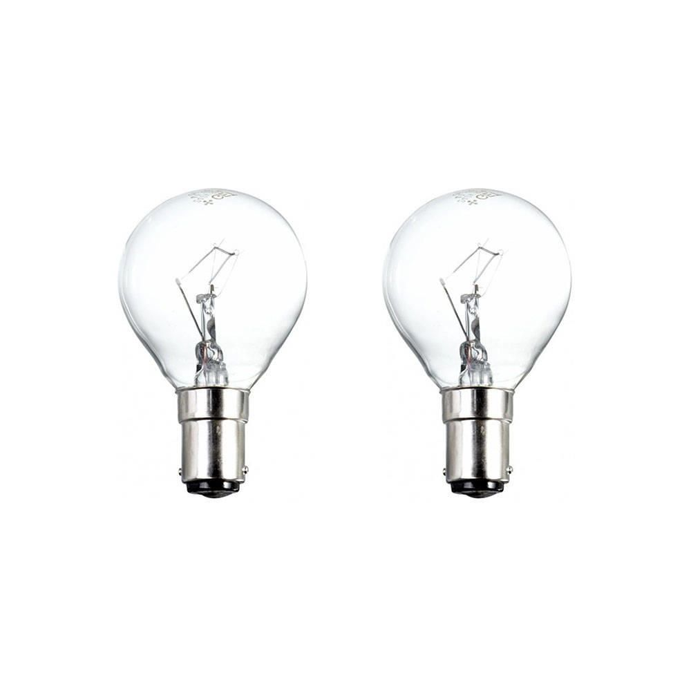 2x B15 25 Watt Small Bayonet Cap Golf Light Bulbs Clear