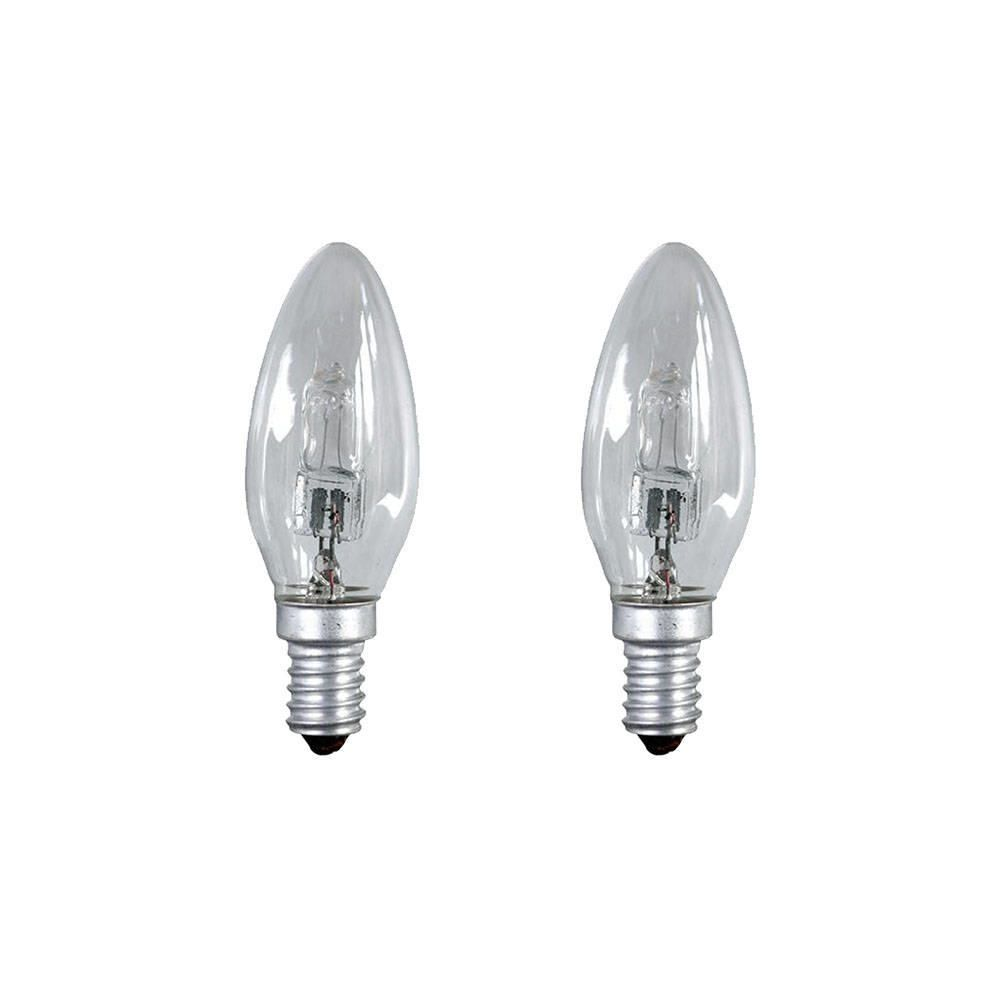 28 Watt E14 Small Edison Screw C35 Halogen Candle Light Bulb  Clear  2 Pack