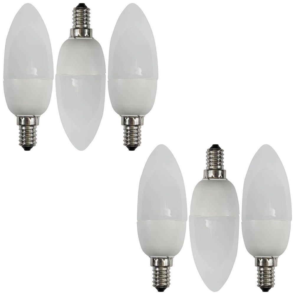 6 Pack of 9 Watt Energy Saving CFL E14 Small Edison Screw Candle Light Bulb  Opal