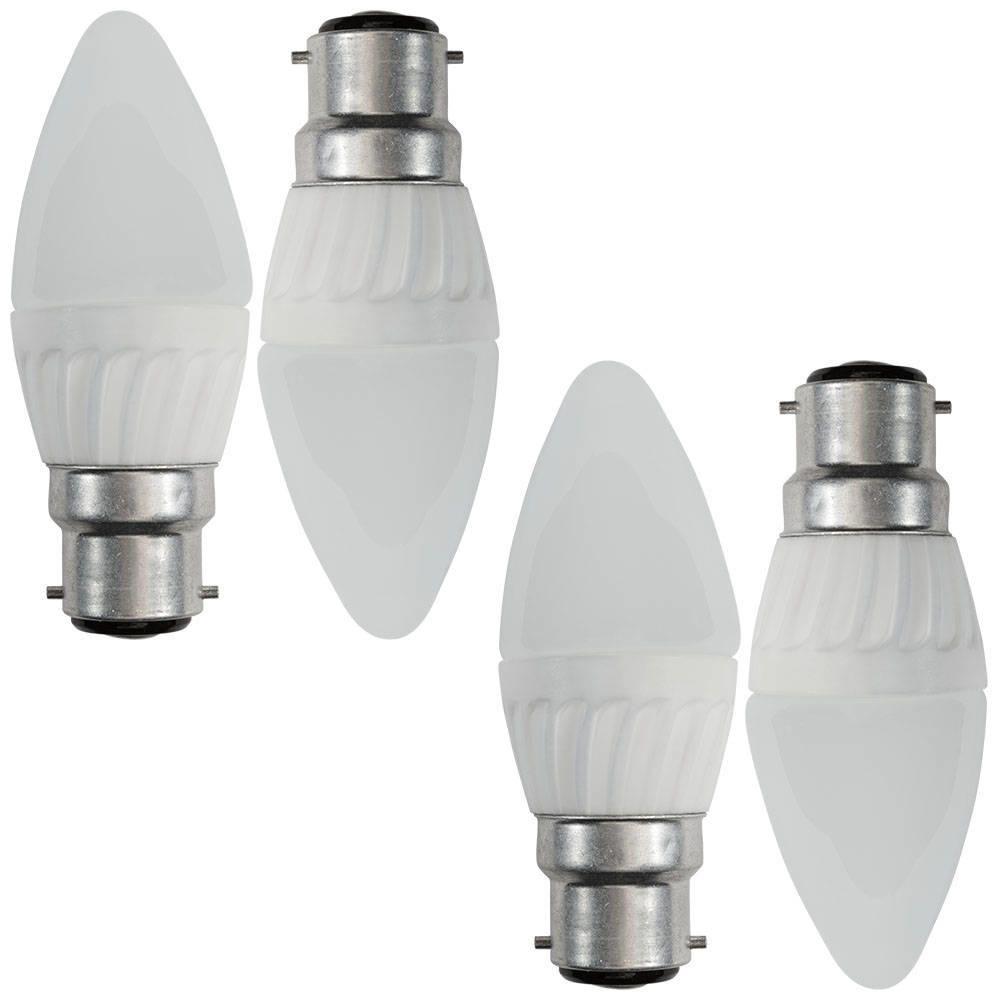 4x B22 4 Watt Led Bayonet Cap Candle Light Bulbs Opal