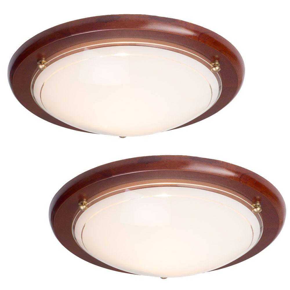2 pack of fergie 1 light flush ceiling light dark wood for Pictures of ceiling lights