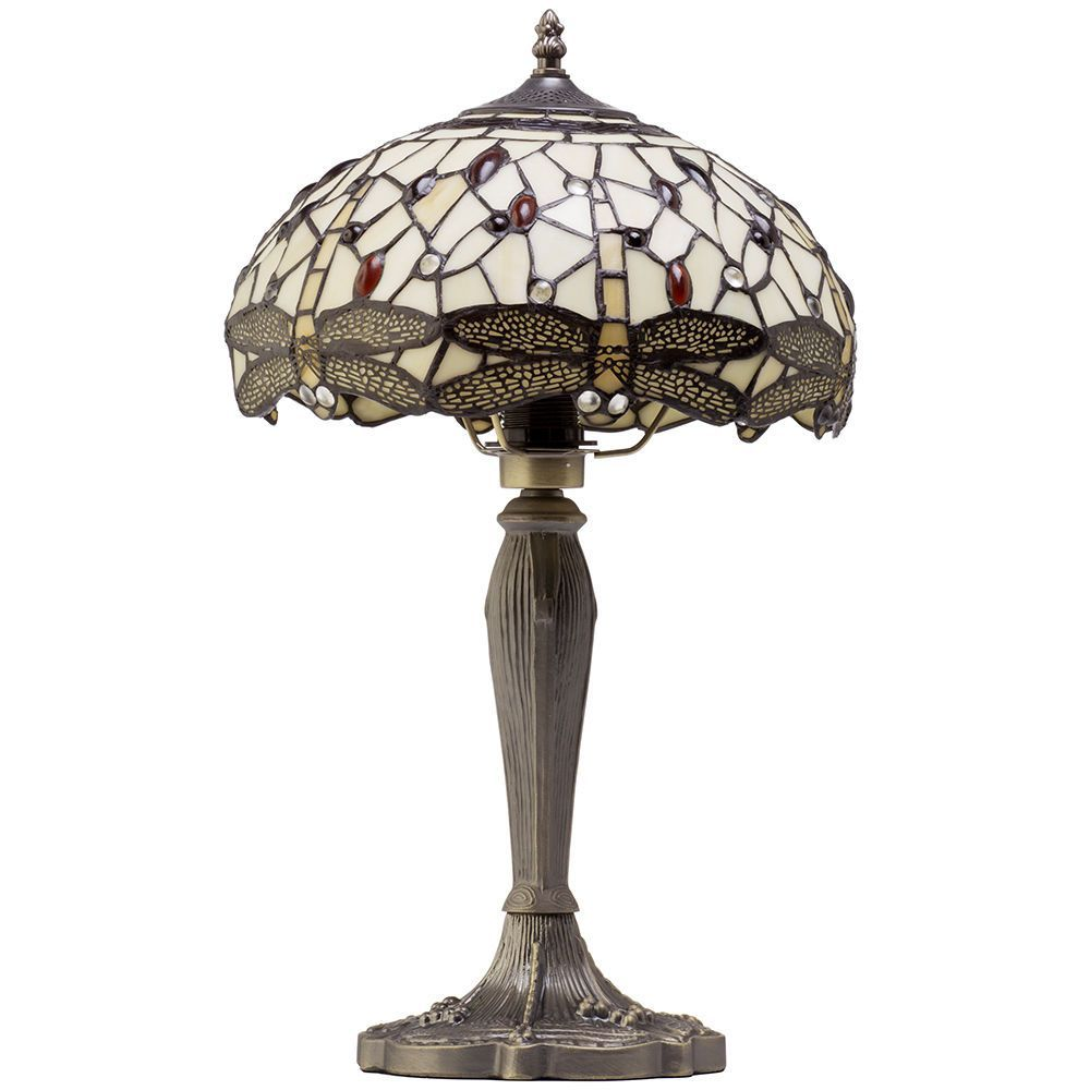 1 Light Tiffany Style Table Lamp With Multi Coloured Glass
