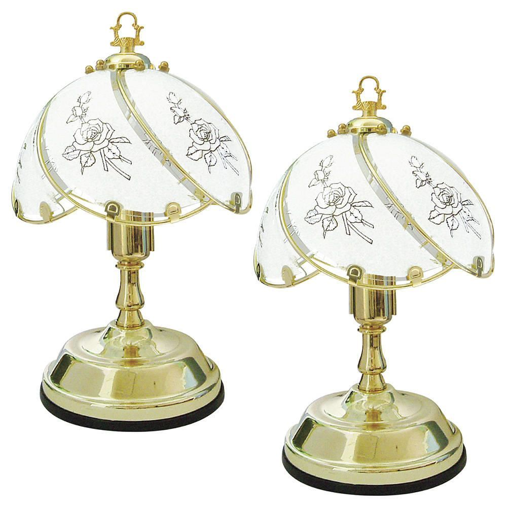 Pack of 2 Lawu Touch Sensitive Rose Design Table Lamps  Brass