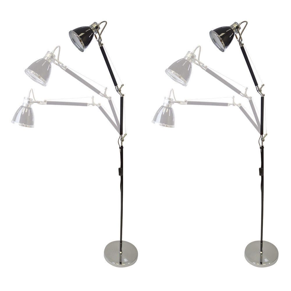 Pack of 2 floor lamps hehuanshan swing arm black from for Floor lamp 2 arms