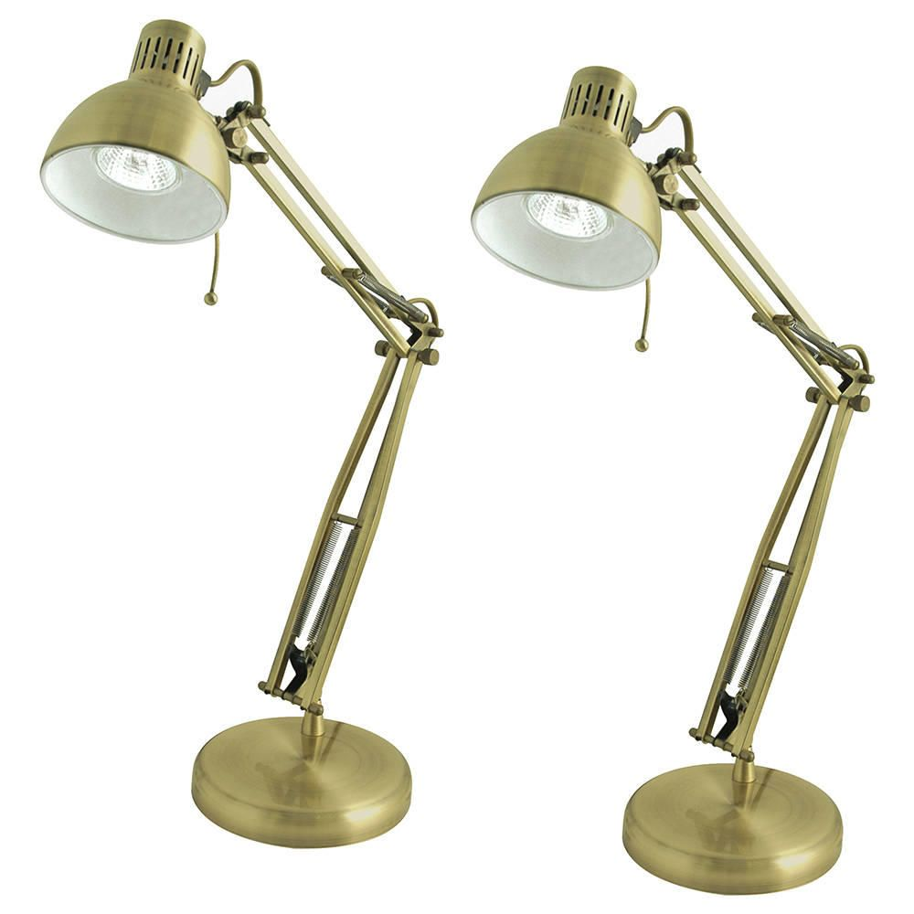 Pack of 2 Pelvoux 1 Light Studio Task Lamps  Antique Brass