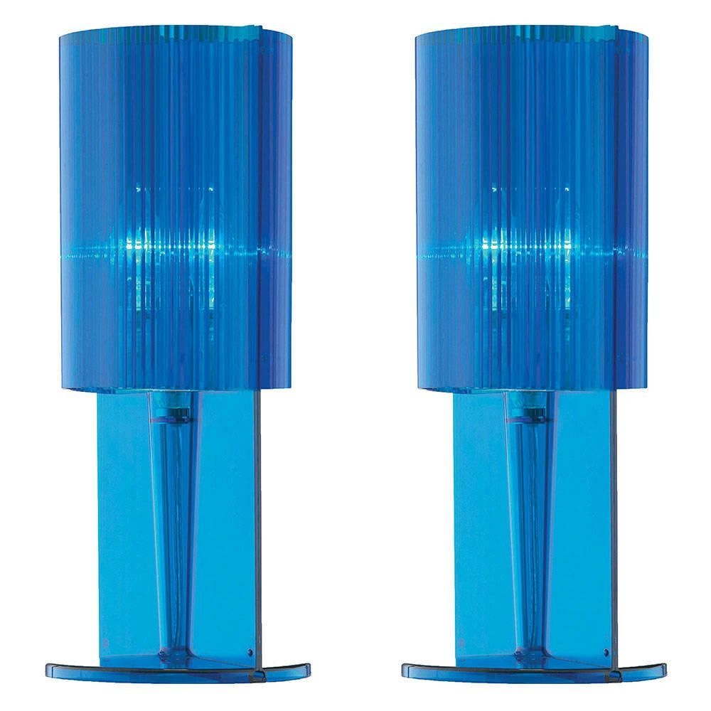 Litecraft Pack of 2 Blue Acrylic Ribbed Table Lamp