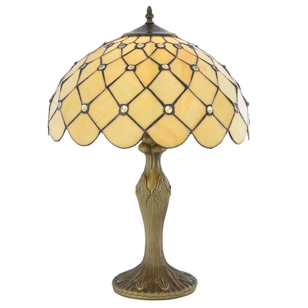 Tiffany Honey Jewel 16 Inch Table Lamp Antique Brass