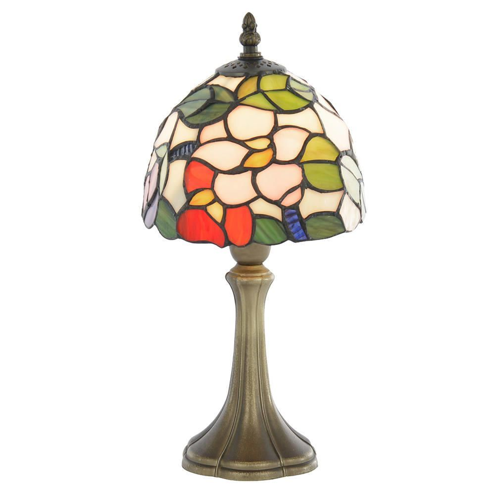 tiffany floral 8 inch table lamp with multi coloured shade antique. Black Bedroom Furniture Sets. Home Design Ideas