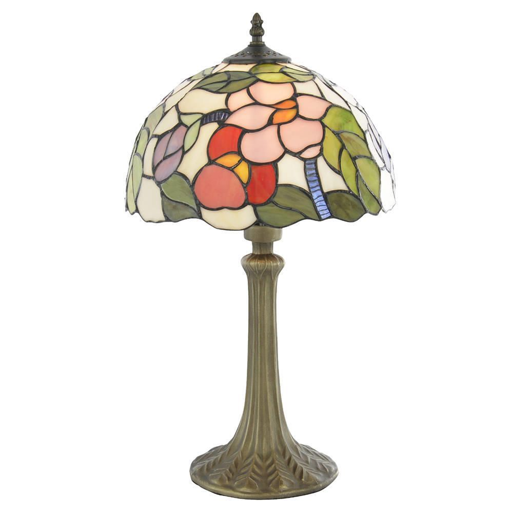 Floral 12 Inch Antique Brass Table Lamp Multi Coloured Shade