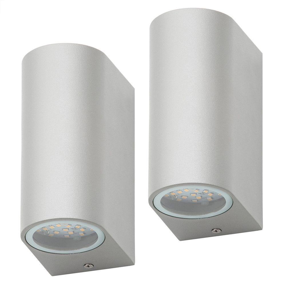 Pack of 2 outdoor twin led up and down lighter wall light grey pack of 2 outdoor twin led up and down lighter wall light grey fastfree delivery large view led outdoor wall light aloadofball Images