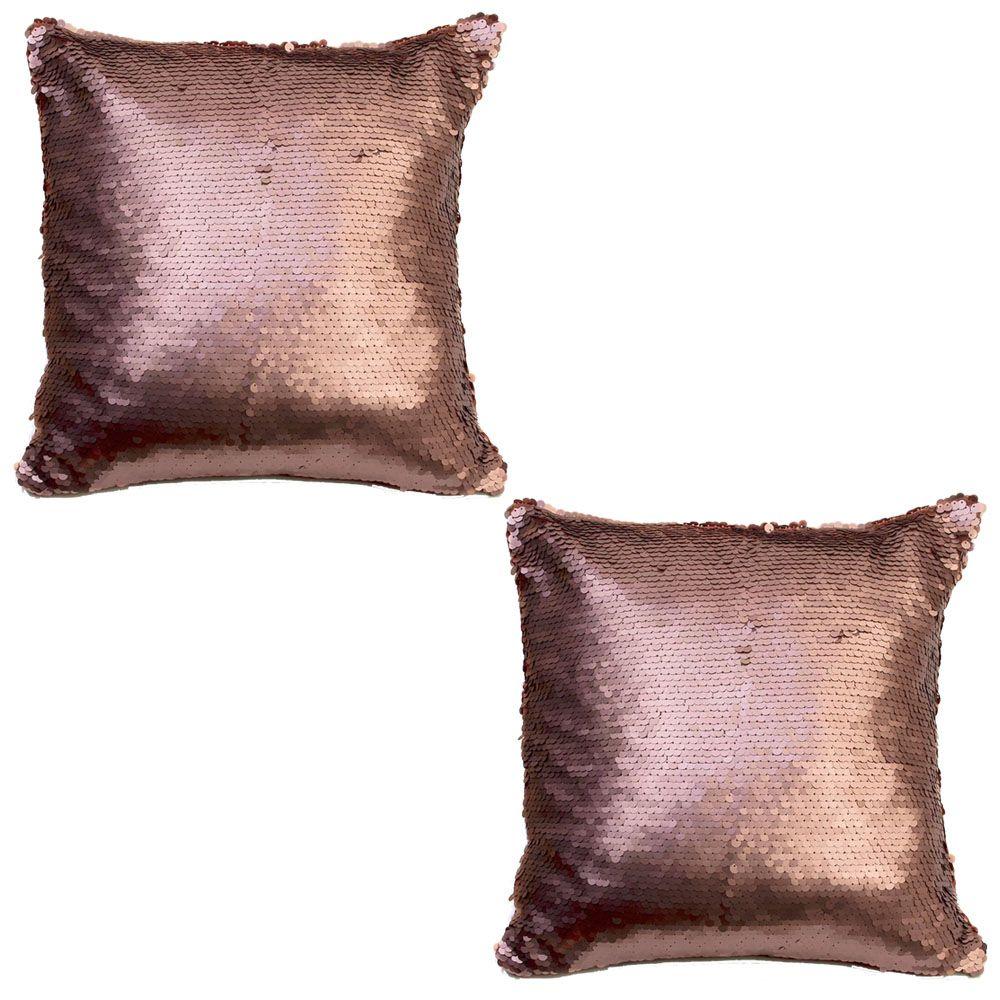 Litecraft 2 Pack of Glitz Sequin Cushion - Bronze