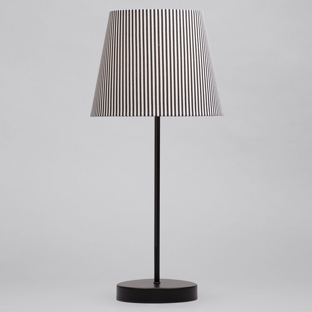 1 Light Round Base Table Lamp With Back Amp White Striped
