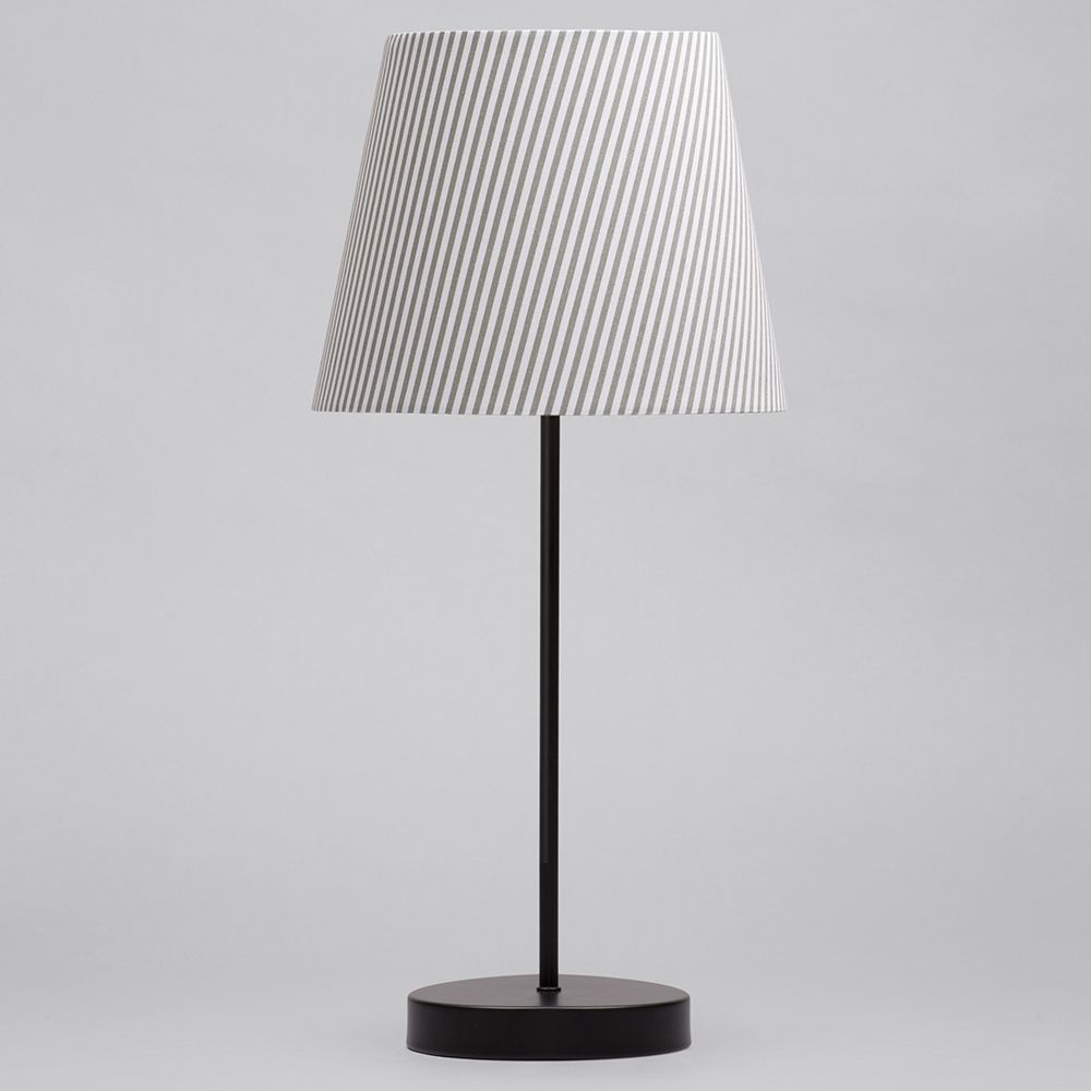 1 Light Round Base Table Lamp W/ Grey & White Striped