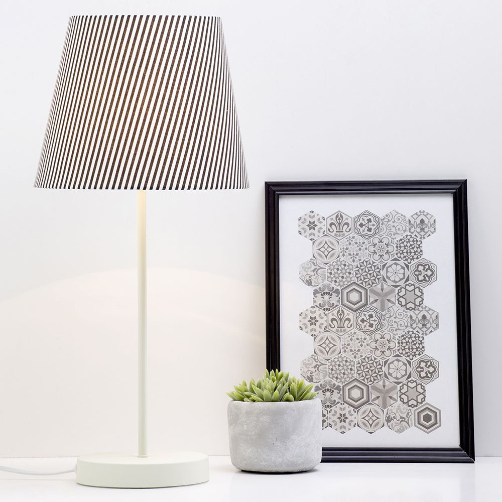 Monochrome Bedroom Decor Ideas, Cream Table Lamp With A Striped Shade