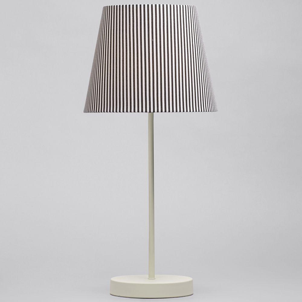 1 Light Round Base Table Lamp W Black Amp White Striped