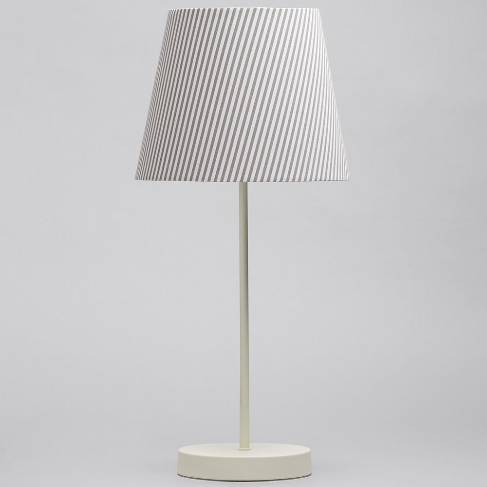 1 Light Round Base Table Lamp With Grey Amp White Striped