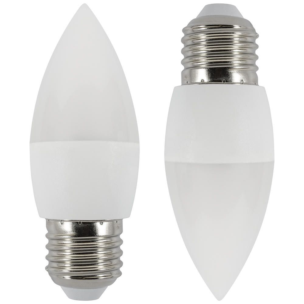 2x 6 watt led e27 edison screw candle bulb cool white. Black Bedroom Furniture Sets. Home Design Ideas