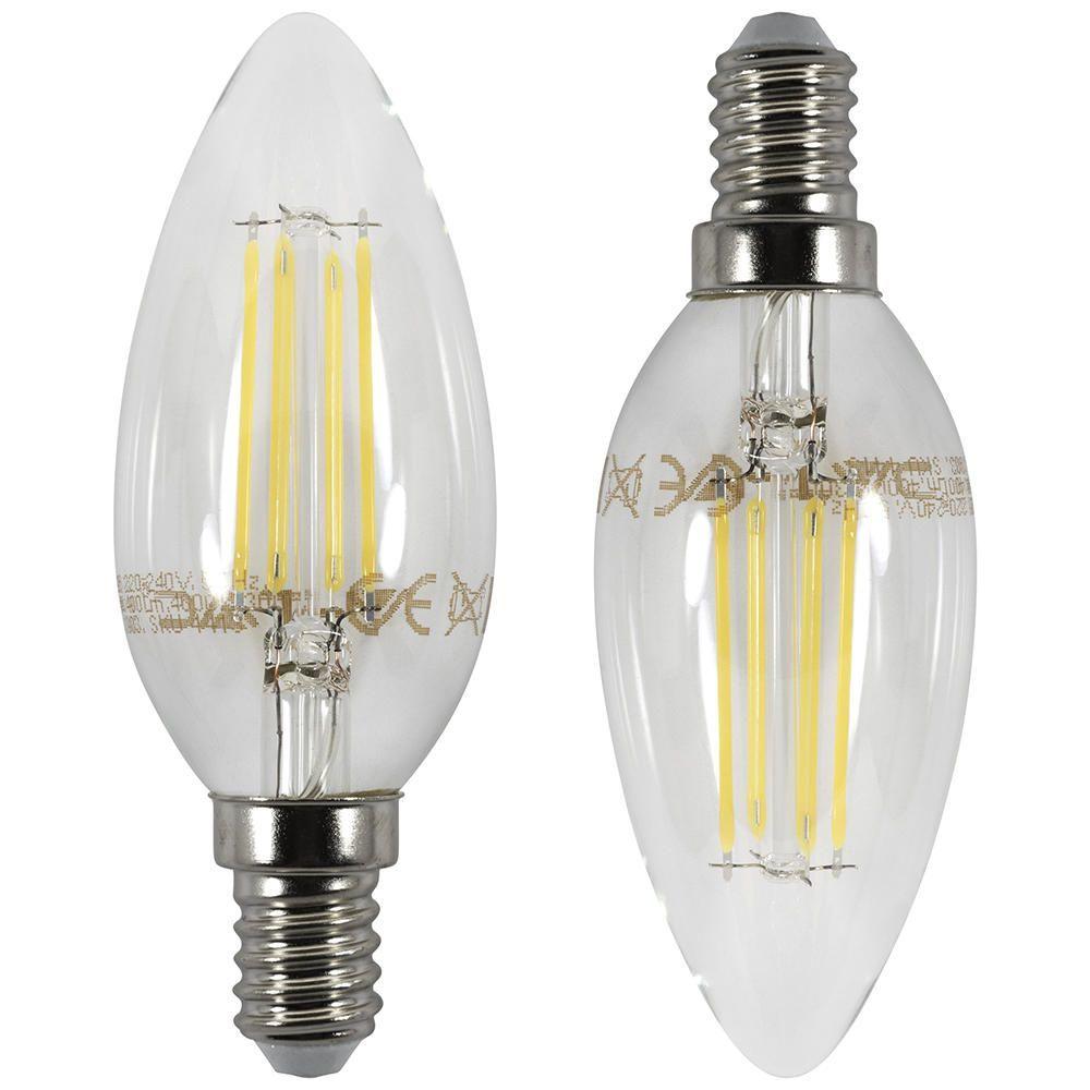 2x 4 Watt Led Filament Candle E14 Ses Bulb Cool White