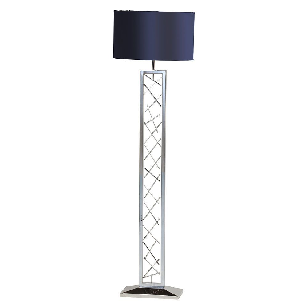 Gaius 1 Light Floor Lamp With Blue Shade Chrome From