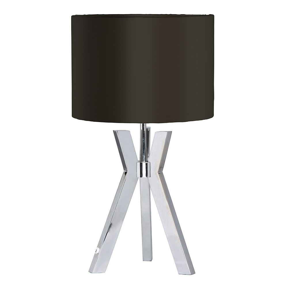 Metal Tripod 1 Light Table Lamp with Black Shade  Chrome