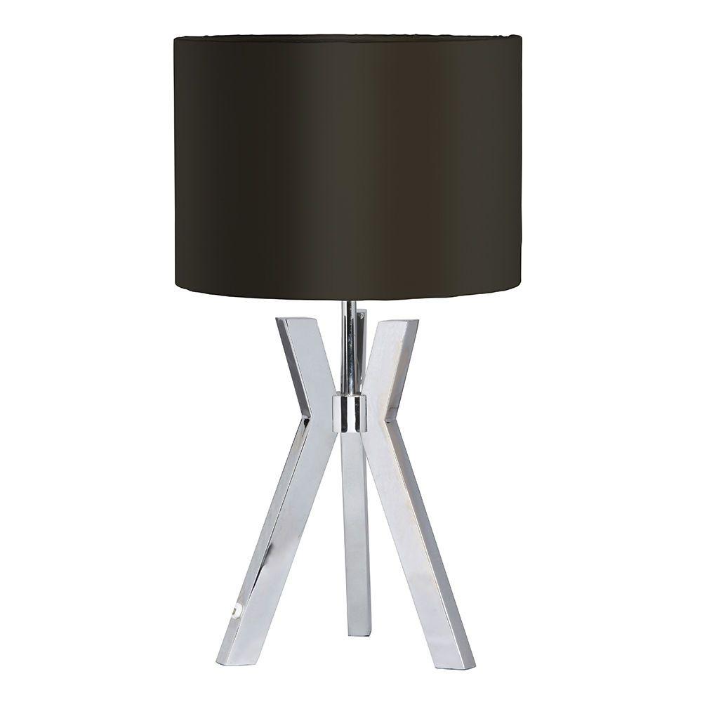 Metal Tripod 1 Light Table Lamp With Black Shade Chrome