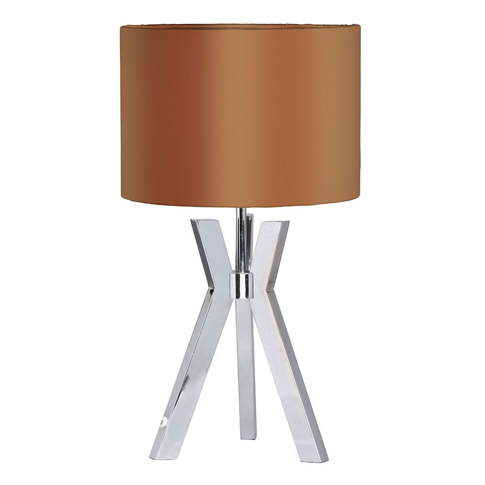 Metal Tripod 1 Light Table Lamp with Bronze Shade  Chrome