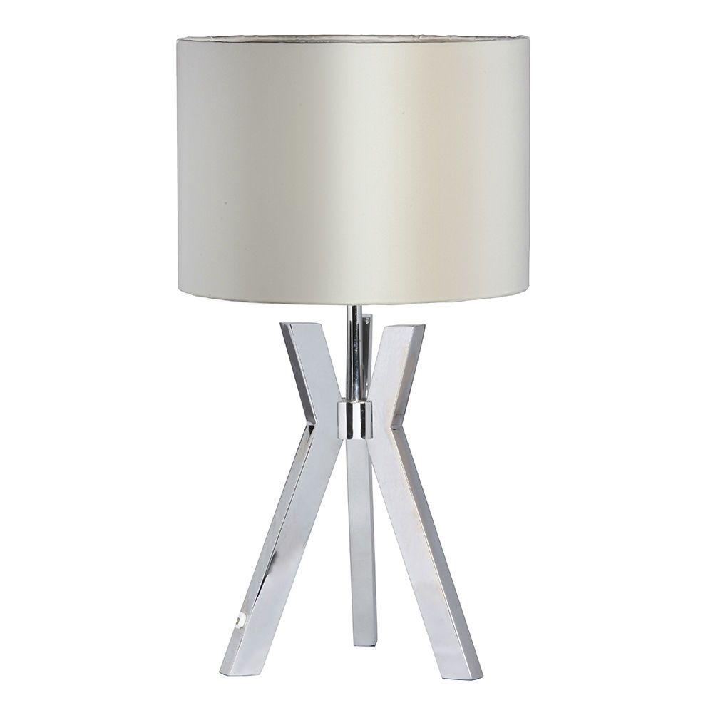 Metal Tripod 1 Light Table Lamp With Pearl Shade Chrome