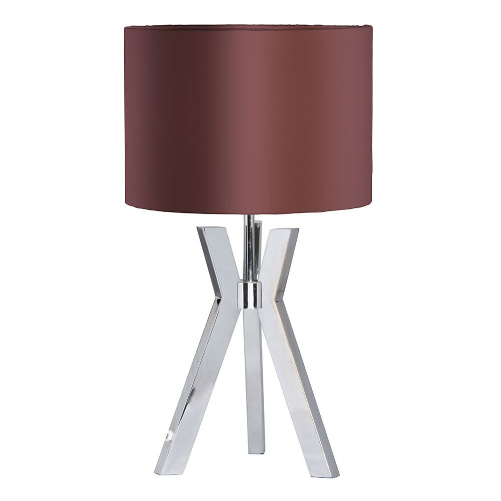 Metal Tripod 1 Light Table Lamp with Maroon Shade  Chrome