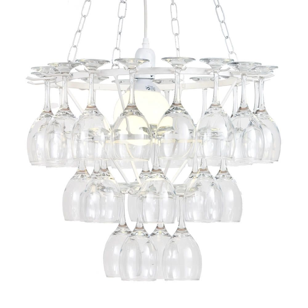 3 Tier Dining Room Wine Glass Chandelier  White 1 Light