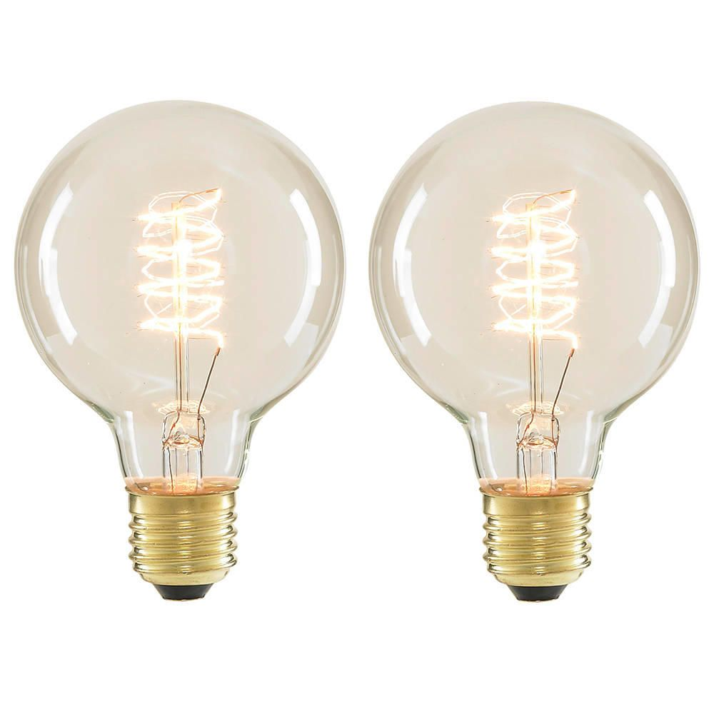 2 Pack E27 Squirrel Cage 40 Watt Vintage Globe Light Bulb Clear
