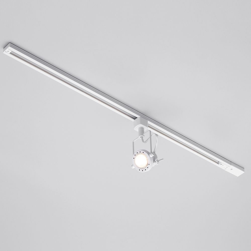 1 metre track light with 1 gu10 halogen bulbs white kitchen and hallway track lighting systems aloadofball Choice Image