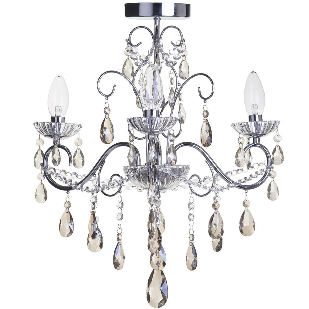 Vara 3 Light Bathroom Chandelier with Champagne Crystals - Chrome