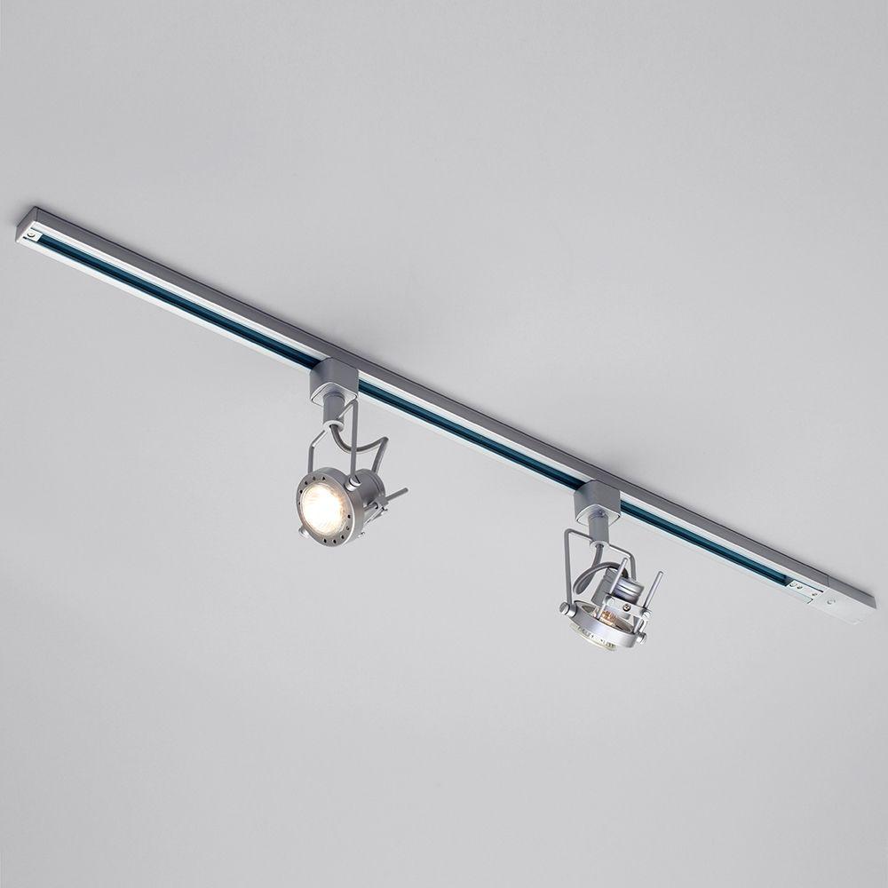 1 Metre Track Light With 2 Gu10 Halogen Bulbs Silver