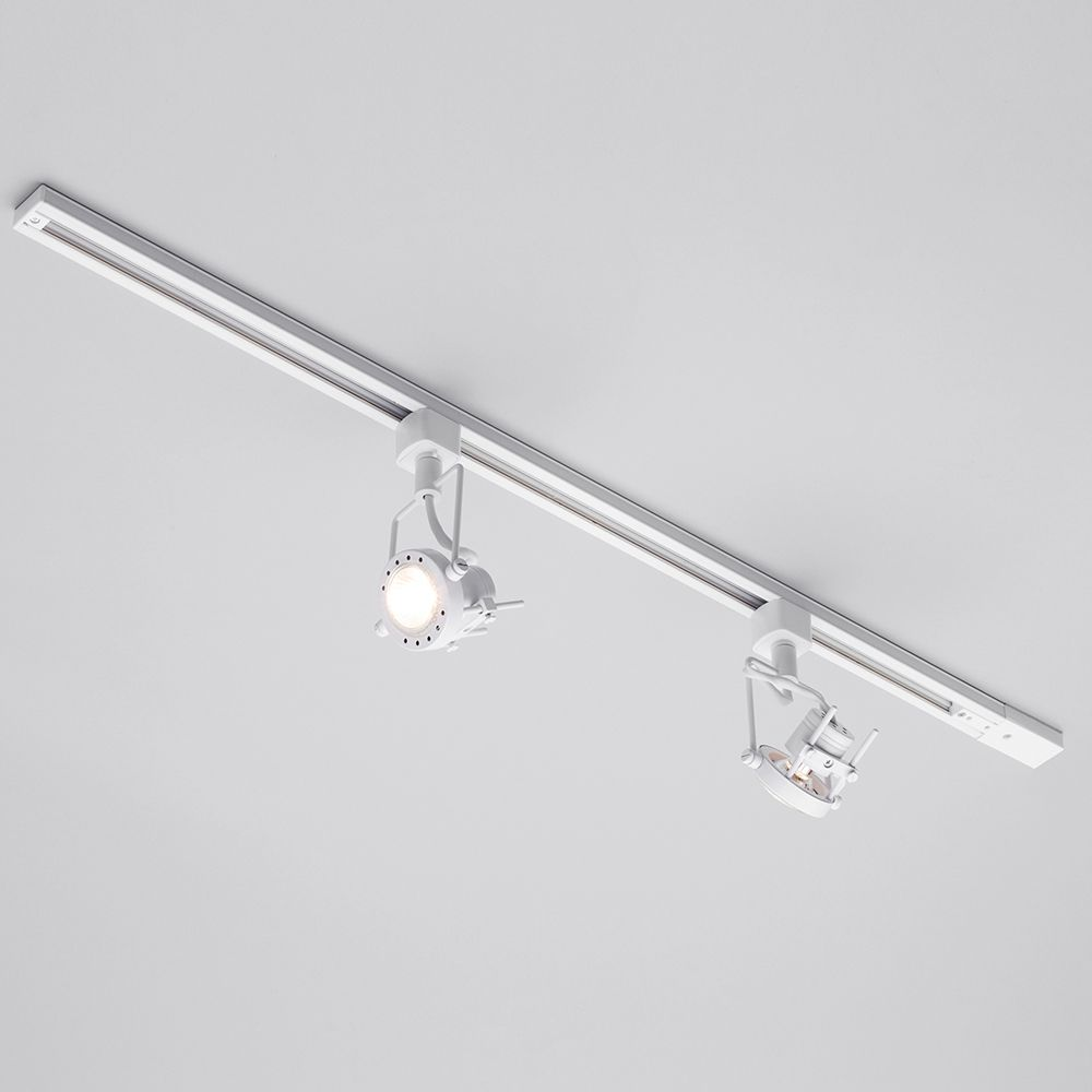 1 metre track light with 2 gu10 halogen bulbs white adjustable track lights aloadofball Image collections