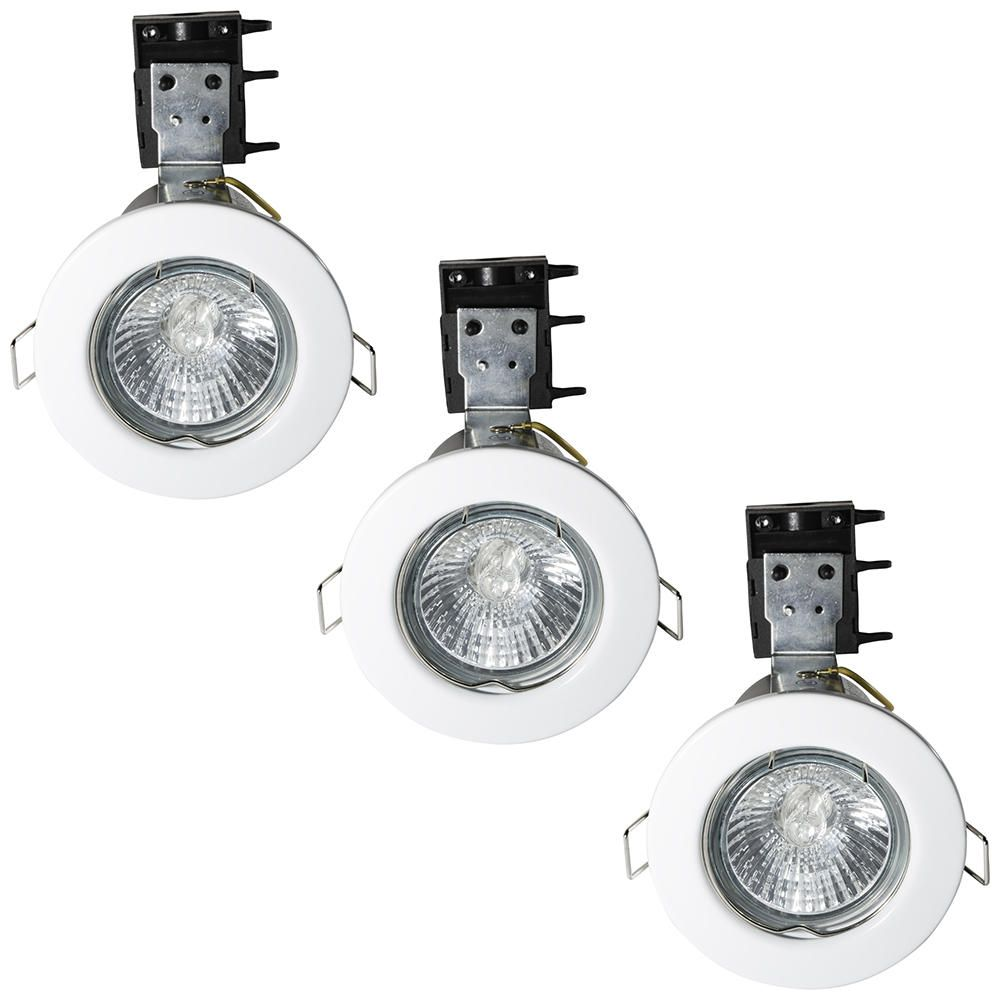 3 Pack of IP20 Fire Rated Recessed Downlighters w Halogen Bulbs White