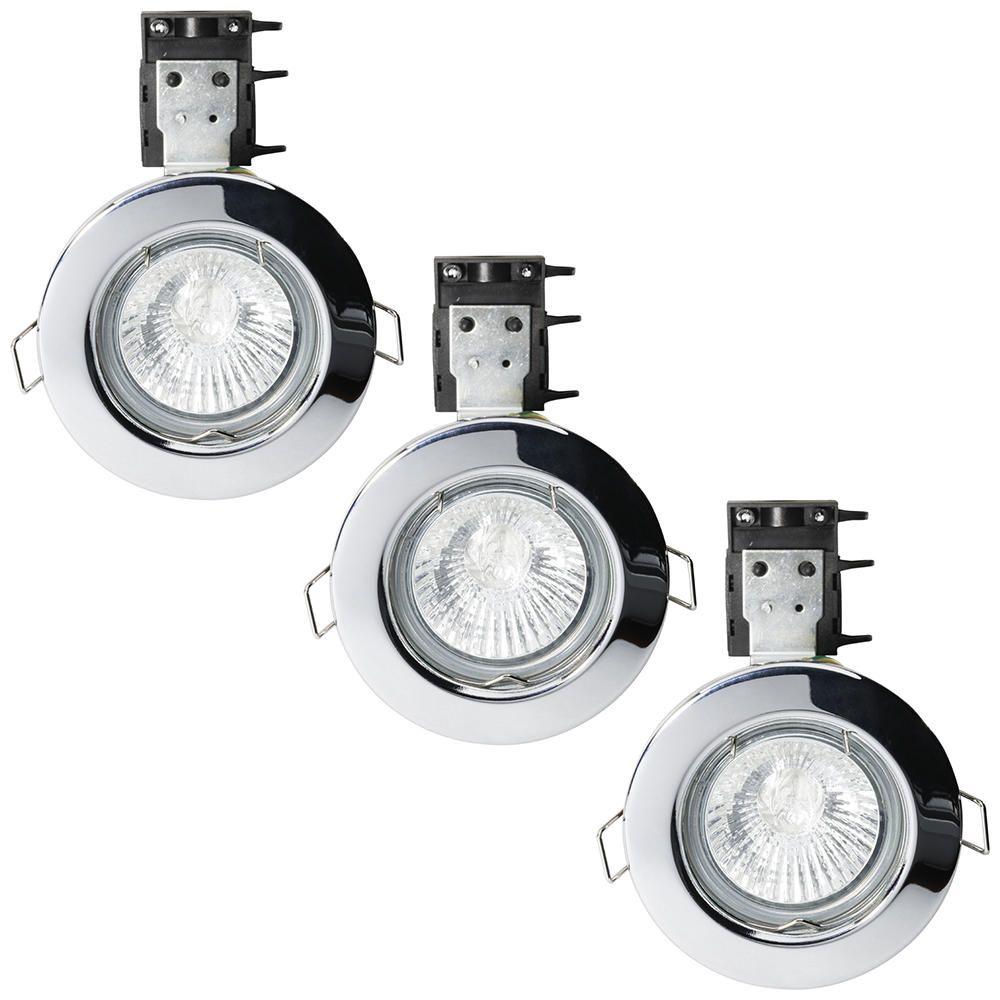 3 Pack of IP20 Fire Rated Recessed Downlighters w Halogen Bulbs Chrome