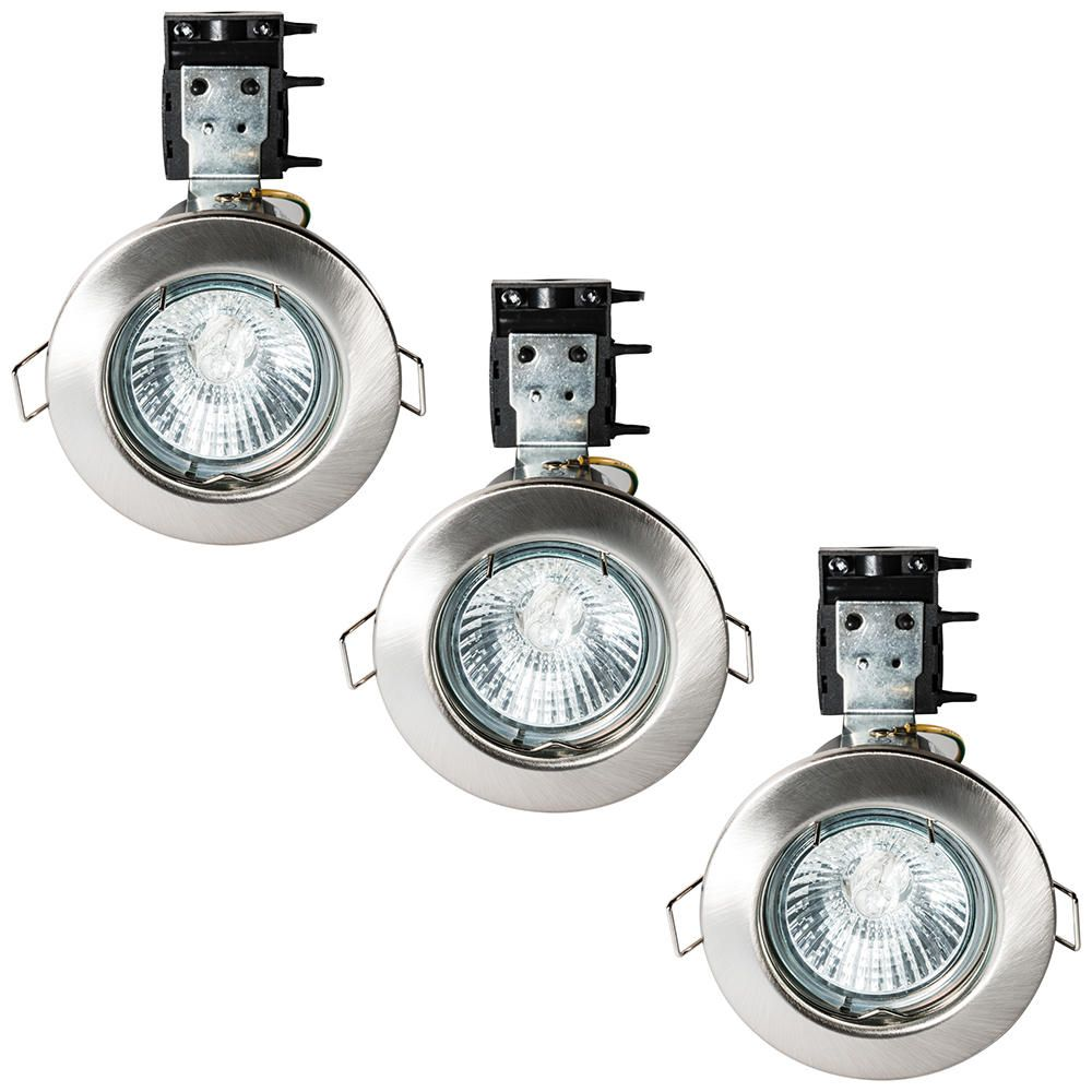 3 Pack of IP20 Fire Rated Recessed Downlighters w Halogen Bulbs Satin Chrome