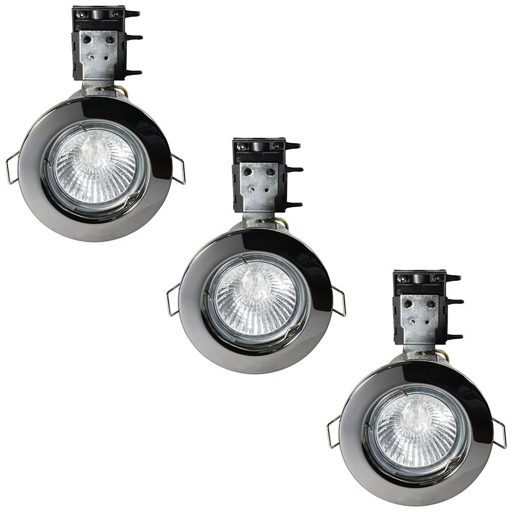 3 Pack of IP20 Fire Rated Recessed Downlighters w Halogen Bulbs Black Chrome