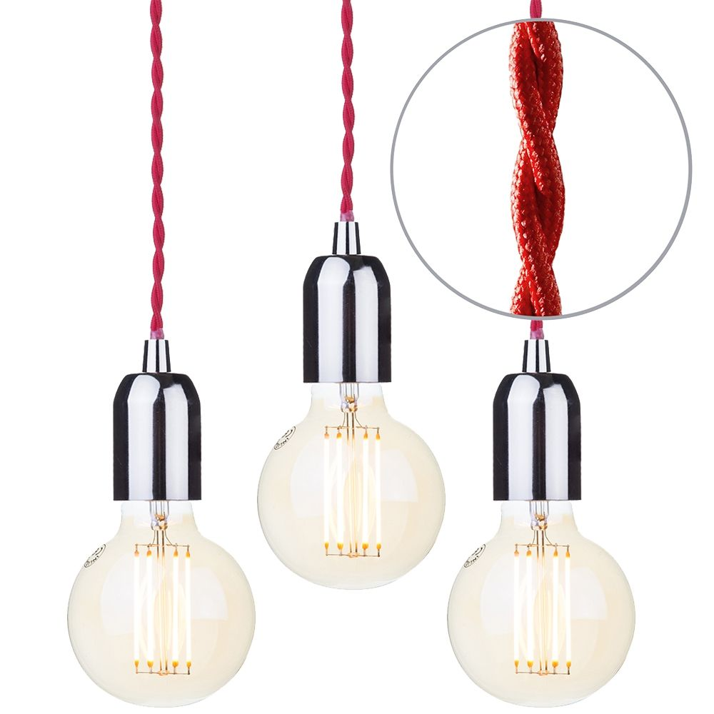 3 Pack of Red Braided Cable Kit with Gold Tint 6 Watt LED Filament Globe Light Bulb - Nickel