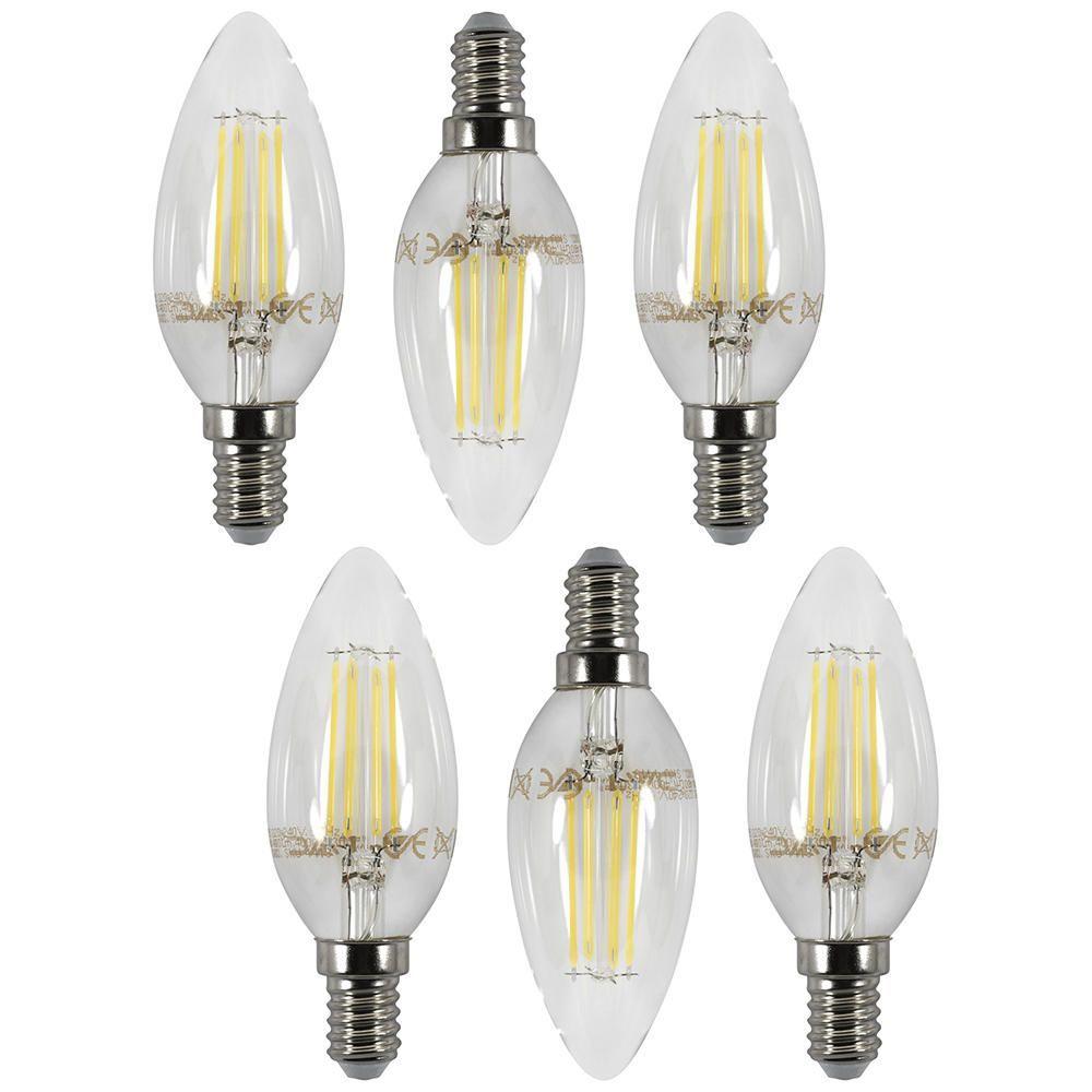 6 Pack of 4 Watt LED Filament Candle Day Light E14 Small Edison Screw Bulb Cool White