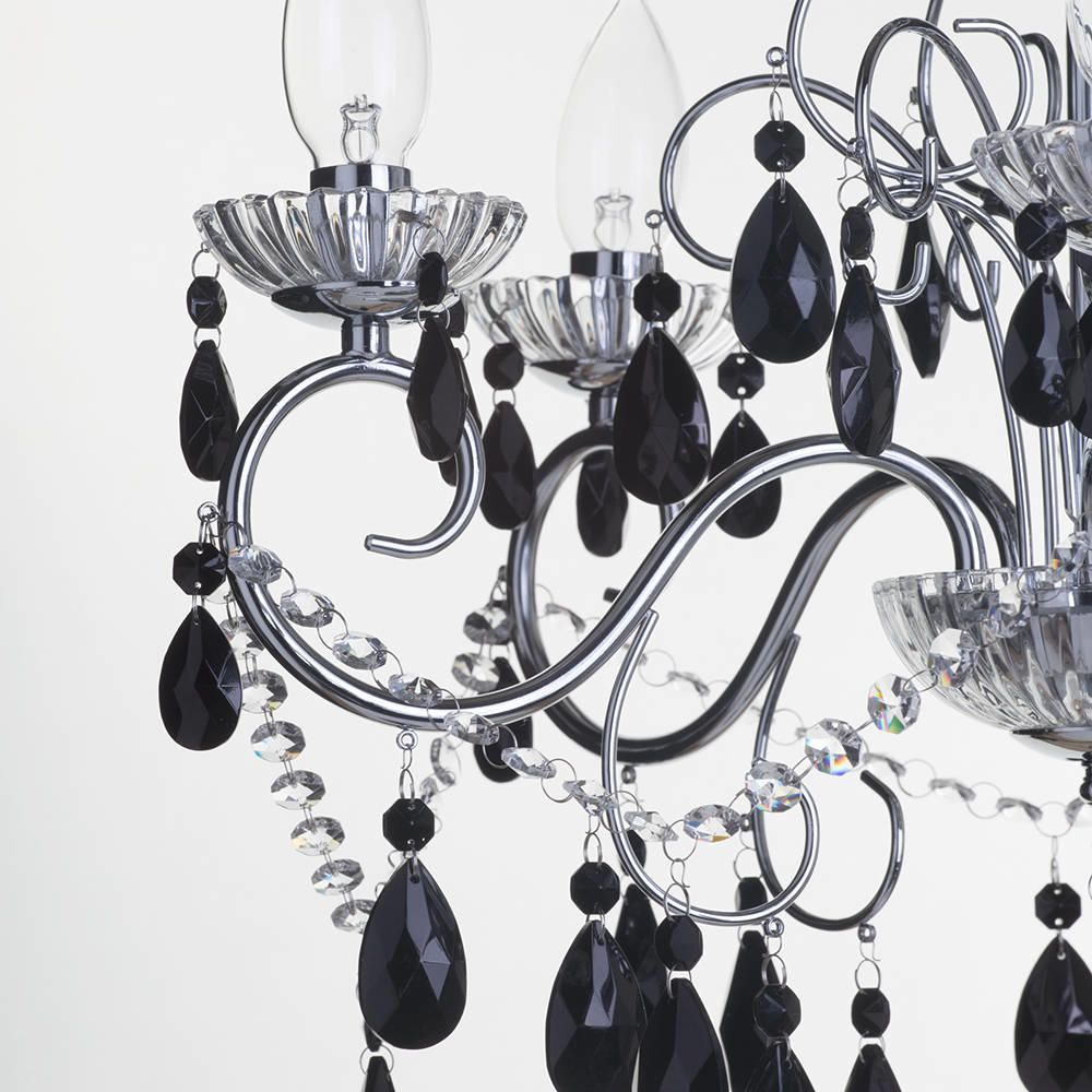 black crystal lighting. black crystal chandelier lighting. sophisticated style bathroom with crystals lighting