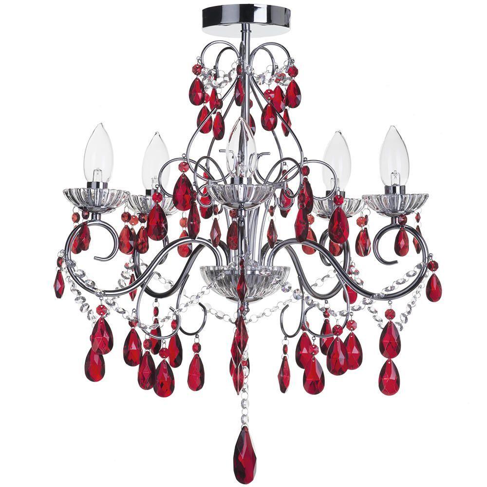 Vara 5 light bathroom red crystals chandelier chrome chandelier with red crystals chrome fastfree delivery aloadofball Choice Image