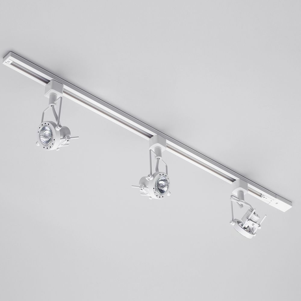 Track lighting 1 metre with 3 greenwich gu10 fixture halogen bulbs white track lighting system for kitchens and hallways aloadofball Images
