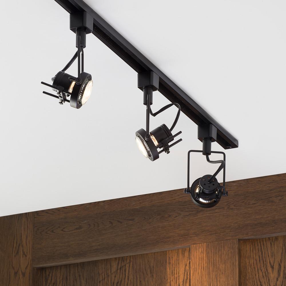 1 Metre Track Lighting with 3 Greenwich GU10 Fixture & LED Bulbs ...