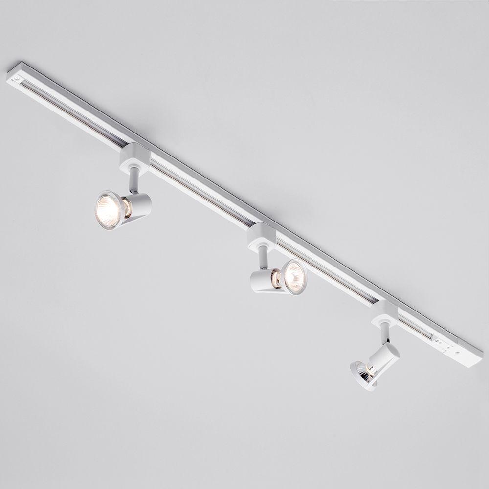 1 Metre Track Lighting with 3 Harlem GU10 Fixture & Halogen Bulbs White