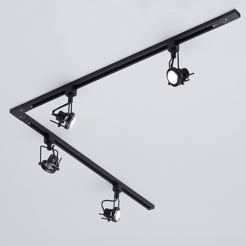 Track Lighting Kit Uk: 1M/2M/3M Track Light Kit Black & 1-6 Three Style Spotheads