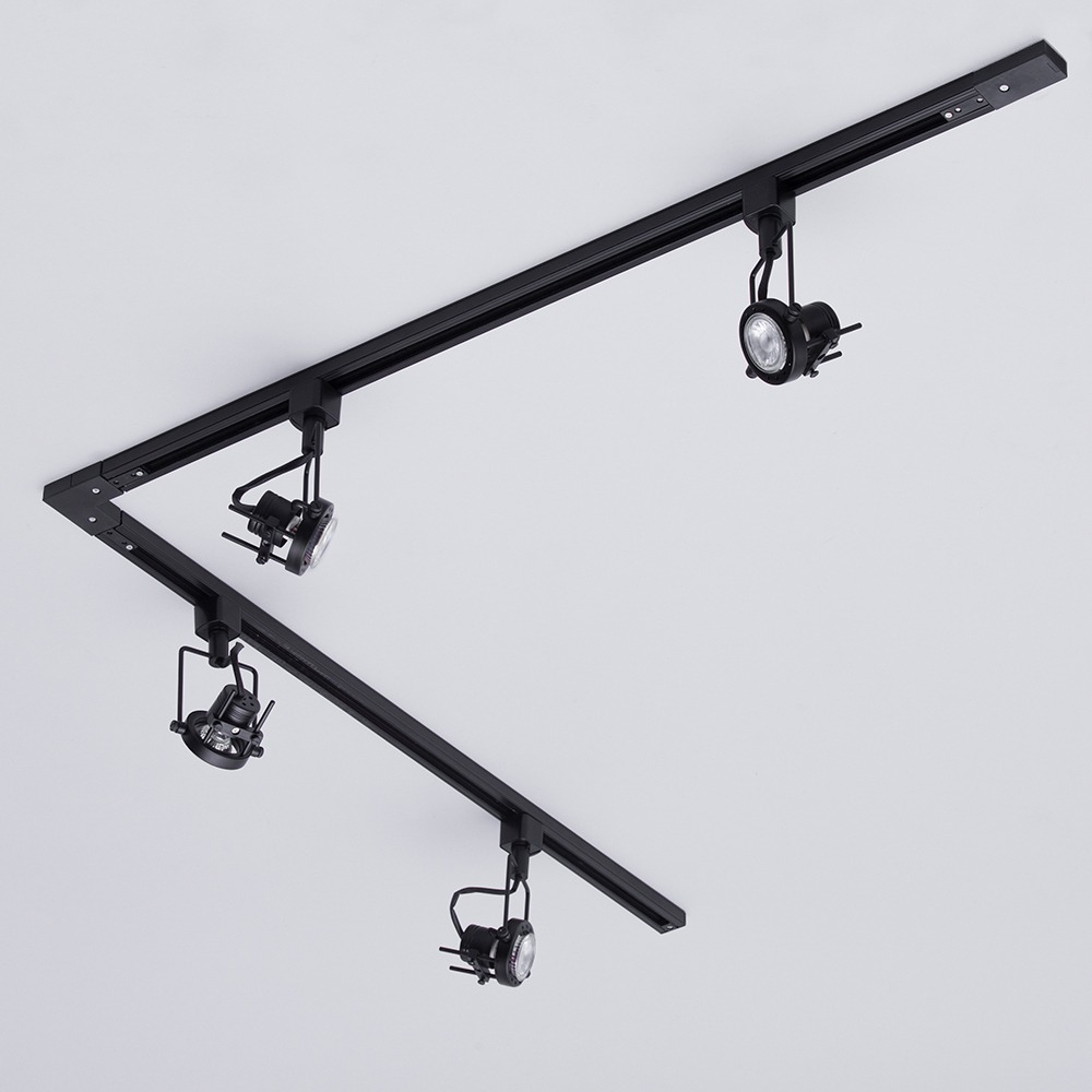 Black Track Lighting Kitchen: 2m L Shape Track Light Kit With 4 Greenwich Heads And LED